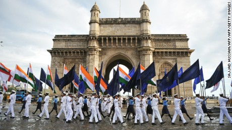 Gateway of India -- a visual synonym for Mumbai.