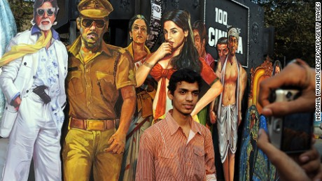 The annual Kala Ghoda Arts Festival includes events like this Indian cinema art installation.
