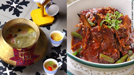 Fruity and spicy punch (left) and a plate of tandoori pork spare ribs (right) start nights right at The Bombay Canteen.