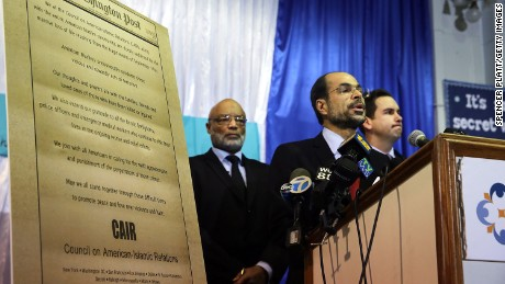Nihad Awad, National Executive Director of the Council on American-Islamic Relations (CAIR) joins other community religious and political leaders at a news conference to address recent issues involving the New Jersey Muslim community on December 3, 2015 in Jersey City, New Jersey.