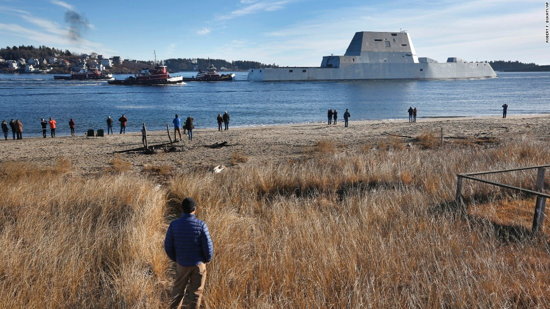 """The USS Zumwalt leaves the Kennebec River in Phippsburg, Maine, on December 7. The ship and its class are named in honor of Adm. Elmo R. """"Bud"""" Zumwalt Jr., who served as chief of naval operations from 1970 to 1974."""