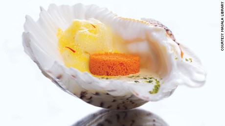 "The ""caviar"" is actually jalebi -- a traditional sweet snack made by deep-frying wheat flour in ring shape."