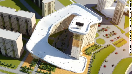 An artists impression of the Slalom House which has been design for the city of Astana in Kazakhstan.