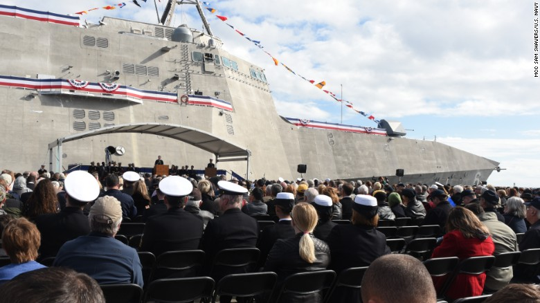 Secretary of the Navy Ray Mabus speaks in Gulfport, Mississippi, at the christening ceremony for the Navy's newest littoral combat ship, the USSJackson.