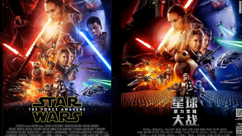 The U.S. poster for 'Star Wars: The Force Awakens' (left) and the Chinese one (right), which has been accused of minimizing or removing characters of color