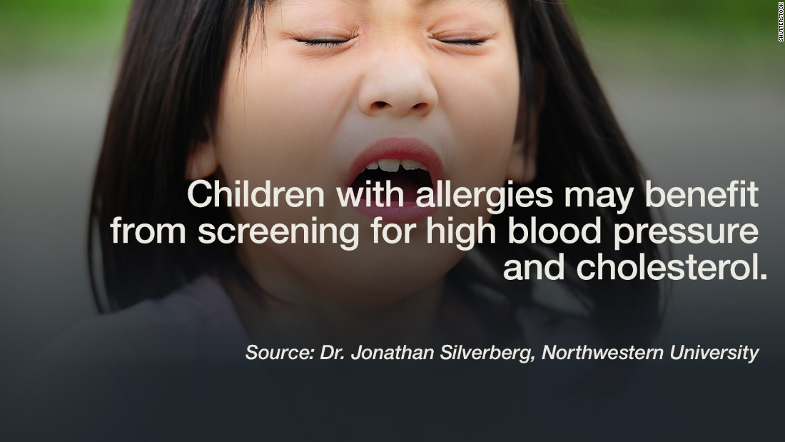 """Children with common allergies such as asthma and hay fever have a higher rate of high blood pressure and cholesterol than their peers with no allergies, according to a new study. This puts them at a much greater risk for a heart attack or stroke later in life. Given the high numbers of kids with allergies, """"future studies are needed to determine the mechanisms of association between pediatric allergic and cardiovascular disease,"""" said Dr. Johnathan Silverberg, lead author of the <a href=""""http://www.jacionline.org/article/S0091-6749(15)01350-0/fulltext"""" target=""""_blank"""">Northwestern University study</a>. The survey  included 13,275 children from infants to 17 year olds. -- Lauren Sennet<br /><em><br />Click through the gallery to see additional recent studies.</em>"""