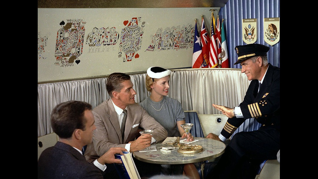 The plane's captain, often a rugged veteran of the skies, sometimes made the rounds. The visits were good PR and helped calm the nerves of nervous passengers -- if a seventh round of martinis wasn't doing the trick.