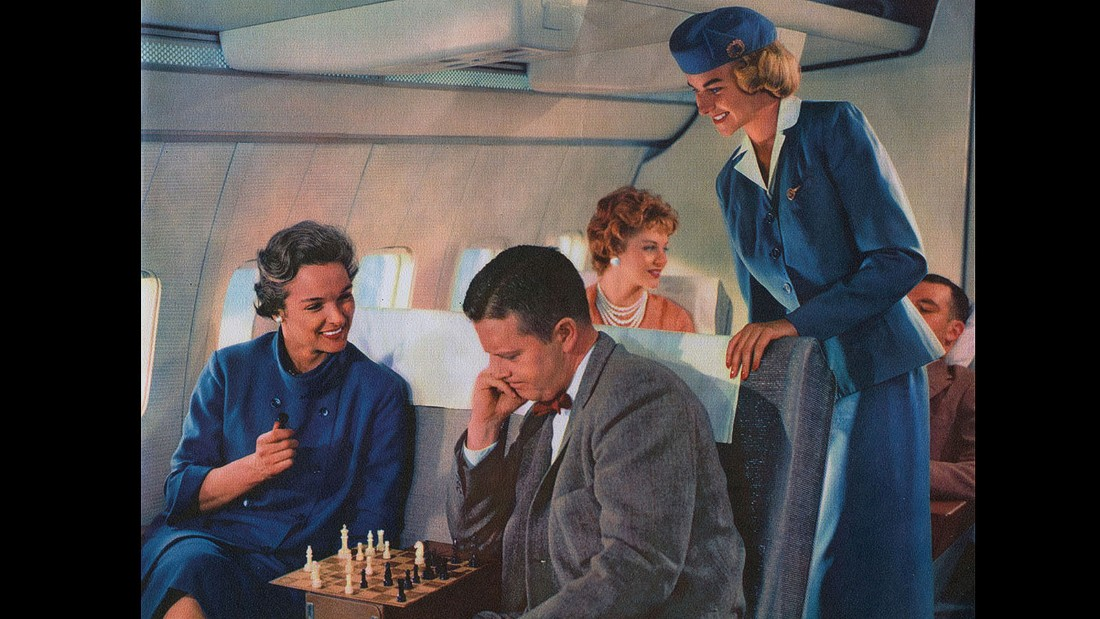 And then there was chess. We're not fooled by this guy's bow tie -- even the cabin crew is two moves ahead of him.