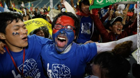 South Koreans celebrate being selected as 2018 Winter Olympic host city at Alpensia Resort on July 7, 2011 in Pyeongchang, South Korea. Pyeongchang finally won the Winter Olympic host race after being beaten by Vancouver for 2010 and Sochi for 2014.