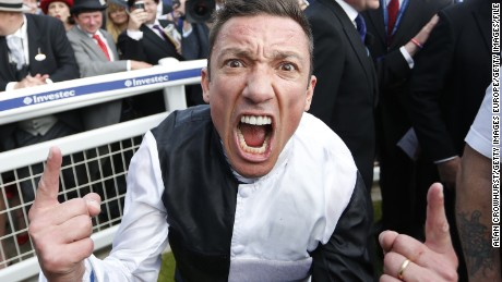 Frankie Dettori celebrates after riding Golden Horn  Derby at Epsom racecourse.