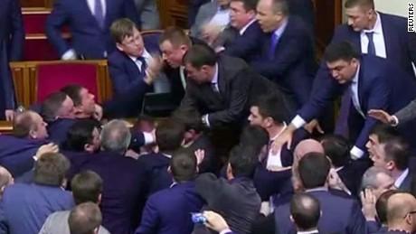 ukraine brawl parliament debate vo_00003229