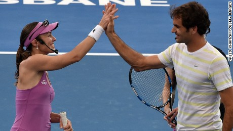 Roger Federer and Martina Hingis briefly paired up at a exhibition event at the Brisbane tournament earlier this year.