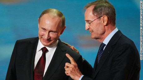 SOCHI, RUSSIA - FEBRUARY 07:   Russian president Vladimir Putin and IOC Member Jean-Claude Killy attend perfomance of Sochi 2014 - One Year To Go on Feb.7, 2013 in 'Bolshoi' Ice Dome in Sochi, Russia. (Photo by Oleg Nikishin/Getty Images)