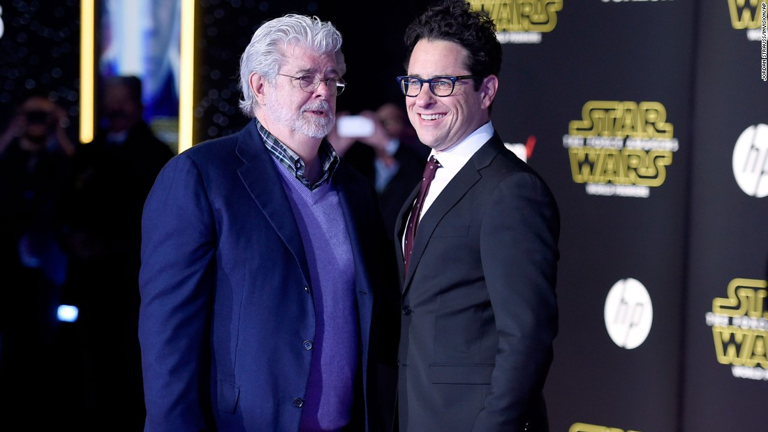 """Star Wars"" creator George Lucas posed with J.J. Abrams, right, who co-wrote and directed ""Star Wars: The Force Awakens."""