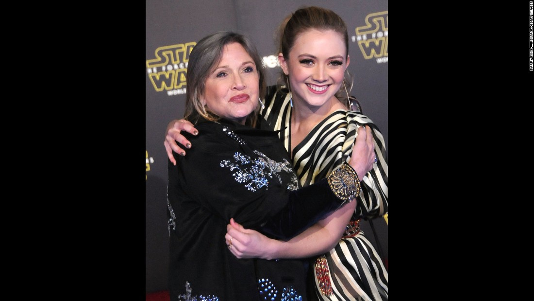 Actress Carrie Fisher and daughter, actress Billie Lourd. Her iconic character, the former Princess Leia, is now a battle-weary general in the new movie.