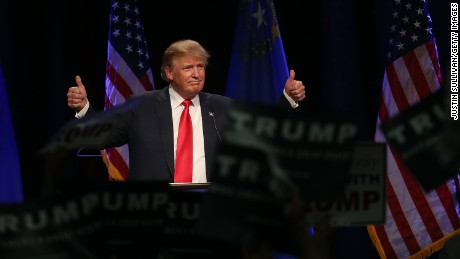 LAS VEGAS, NV - DECEMBER 14:  Republican presidential candidate Donald Trump gestures as he speaks during a campaign rally at the Westgate Las Vegas Resort & Casino on December 14, 2015 in Las Vegas, Nevada. Donlad Trump is campaigning in Las Vegas a day ahead of the final GOP debate.  (Photo by Justin Sullivan/Getty Images)