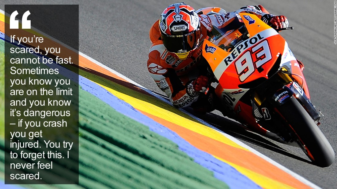 """His fearless attitude has helped him overcome career-threatening injuries to become the brightest young star in motorcycling, challenging MotoGP legend Valentino Rossi. <a href=""""http://edition.cnn.com/2015/12/16/sport/marc-marquez-motogp-motorcycling/index.html"""" target=""""_blank"""">Read more</a>"""