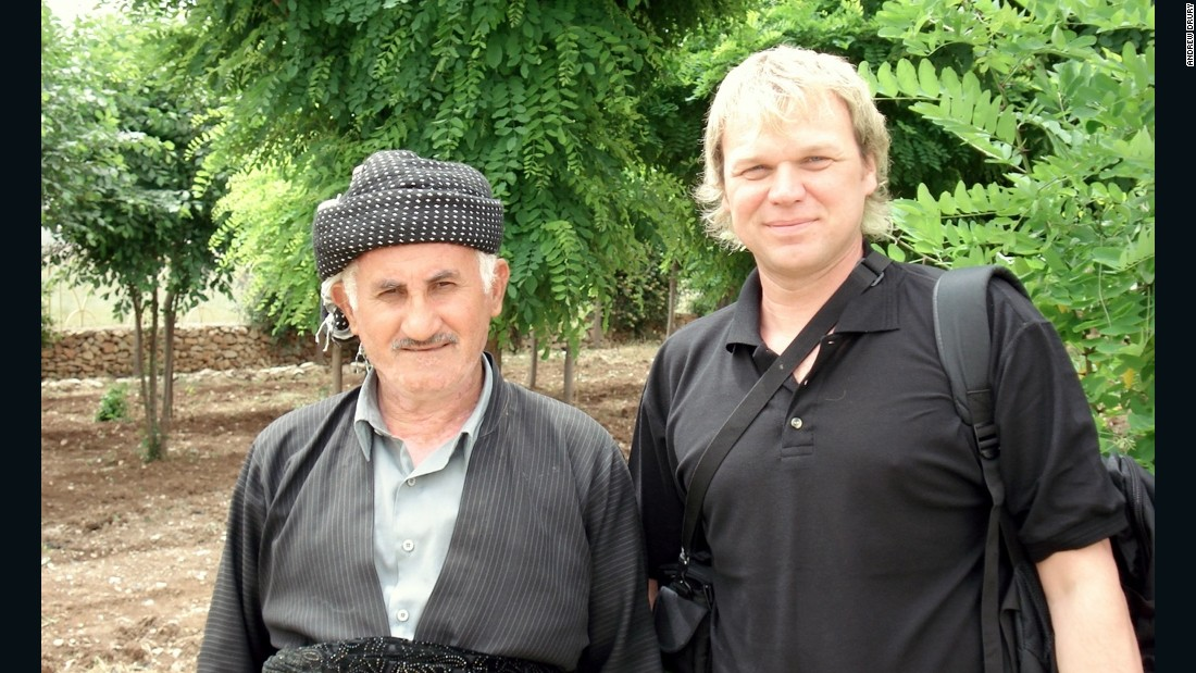 2006: With a Yazidi friend in Halabja, Iraqi Kurdistan. Drury will return to the region in 2016, despite the ongoing conflict with ISIS.