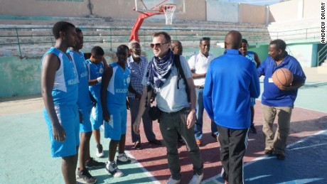 Drury at training with a basketball team he sponsors in Mogadishu.
