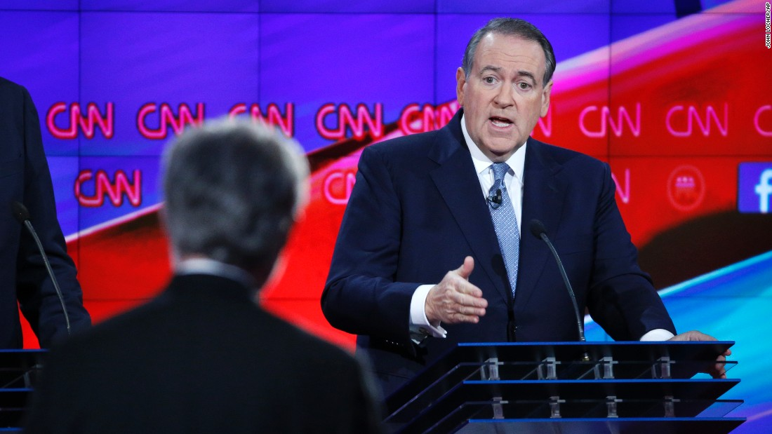 "Huckabee responds to a question. ""We've lost confidence in our government,"" Huckabee said during the first debate. ""And when Americans lose confidence in their government, we're in a dangerous place. We're in danger because we have an enemy that is out to kill us, and we have a government that we don't trust any more. This election is about going back to having a government we can trust with leaders who have the courage and conviction to actually lead and not follow."""