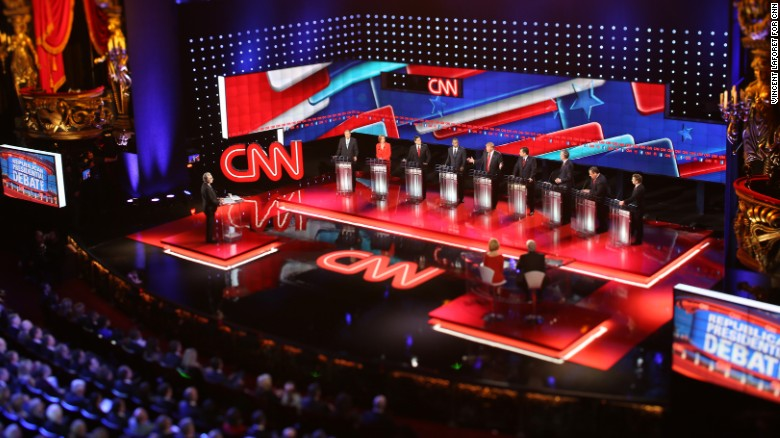 Still from CNN GOP Debate, Vegas. December 15, 2015. Photos by Vincent Laforet for CNN