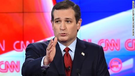 Republican presidential candidate Texas Sen. Ted Cruz gestures during a break in the Republican Presidential Debate, hosted by CNN, at The Venetian Las Vegas on December 15, 2015 in Las Vegas, Nevada.