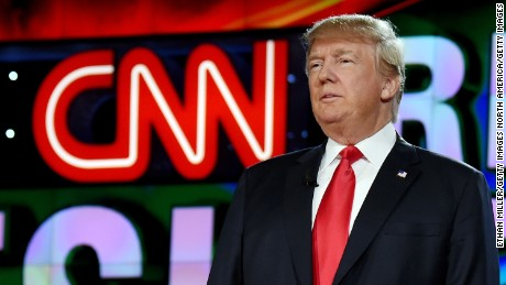 Republican presidential candidate Donald Trump is introduced during the CNN presidential debate at The Venetian Las Vegas on December 15, 2015.