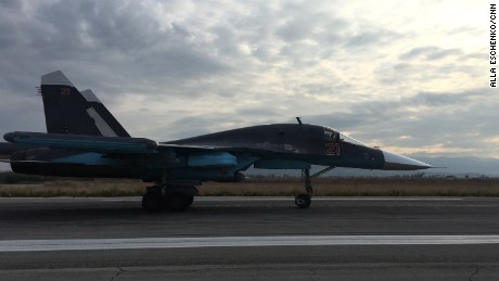 A Russian warplane at the Hmeymim airbase in Latakia, Syria