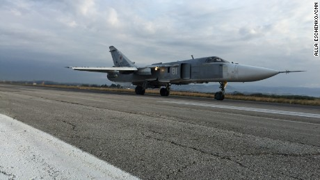 A Russian fighter jet at the Hmeymim airbase in Latakia, Syria