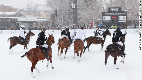 General view of the action during The 2013 World Snow Polo Championship on December 20, 2013 in Aspen, Colorado.