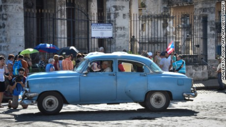Puerto Rican tourists visit Old Havana.