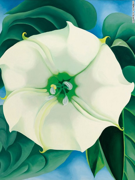 Long one of America's favorite home-grown artists, Georgia O'Keeffe is celebrated mostly for her magnificent flower paintings -- like this Jimson Weed , which shattered all records for the highest price ever paid for a work by a woman artist -- nearly quadrupling the previous record of $11.9 million set by Joan Mitchell just a few months prior. What's more, the work was also purchased by a woman: Walmart heiress Alice Walton, who bought it on behalf of the Crystal Bridges Museum (of which she is the founder).