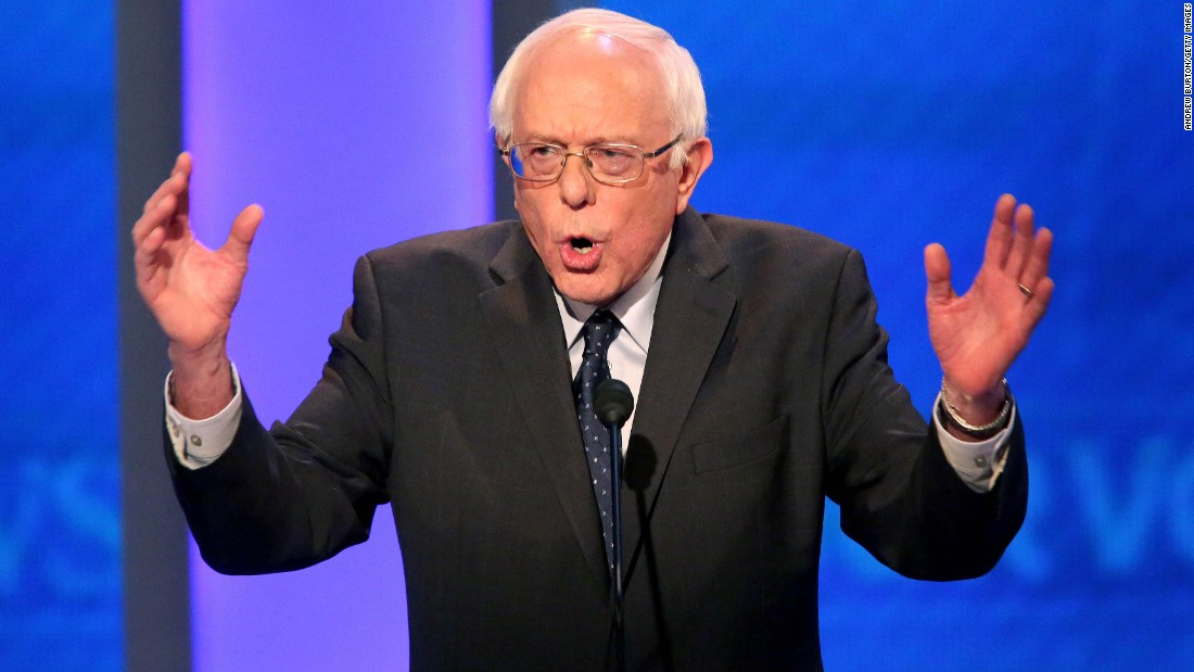 Sanders speaks during the debate.