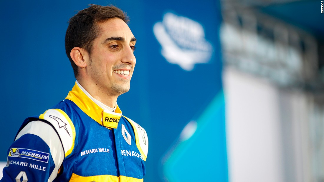 Buemi enjoys the moment after his dominant victory in the opening round of season in China. Starting from pole position, he eased to an eventual 11-second winning margin.