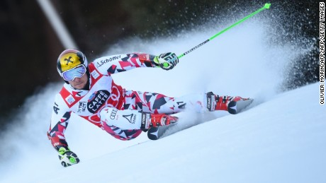 Austria's Marcel Hirscher competes in the FIS Alpine Skiing World Cup Men's Giant Slalom on December 20, 2015 in Alta Badia, northern Italy. Austria's Marcel Hirscher won the men's giant slalom World Cup race at Alta Badia in Italy on Sunday. Norway's Henrik Kristoffersen was second at 0.19 sec with Frenchman Victor Muffat-Jeandet third at 0.86 sec. AFP PHOTO / OLIVIER MORIN / AFP / OLIVIER MORIN        (Photo credit should read OLIVIER MORIN/AFP/Getty Images)
