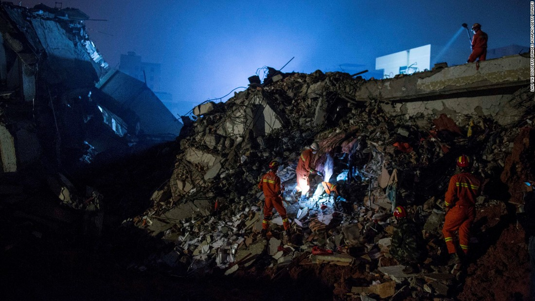 The search through the piles of rubble was made more difficult as light faded.