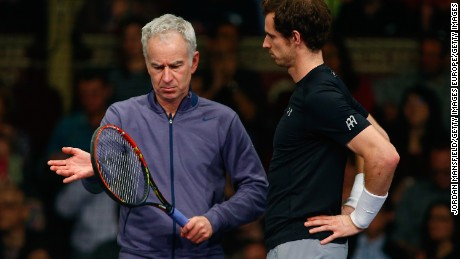 LONDON, ENGLAND - DECEMBER 05:  Andy Murray of Great Britain (R) talks with John McEnroe of the USA (L) during the Tie Break Tens on day four of the Statoil Masters Tennis at the Royal Albert Hall on December 5, 2015 in London, England.  (Photo by Jordan Mansfield/Getty Images)