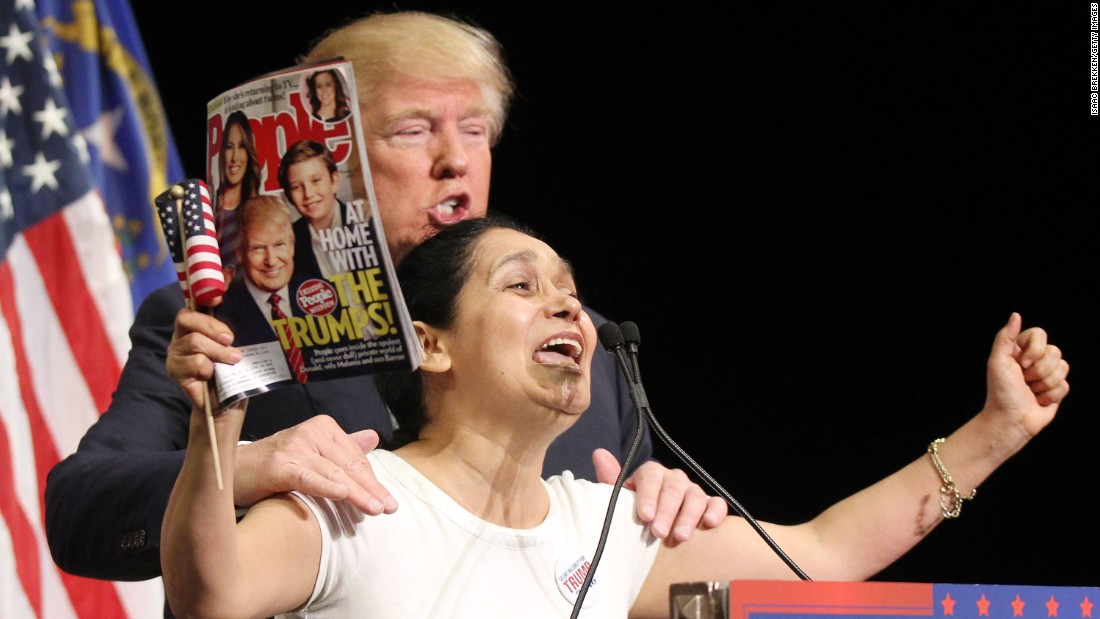 "Trump invites Colombian-born super fan Myriam Witcher on the stage during a campaign rally in Las Vegas on October 8. ""I am Hispanic and I vote for Mr. Trump. We vote for Mr. Trump!"" Witcher exclaimed."