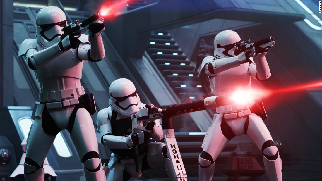 "<strong>First Order Troopers</strong>, with new weapons and armor design for the sequels. These days, the stormtroopers' weapons are custom-made (and include flamethrowers!), but in the original trilogy, they were crafted from real firearms by Roger Christian and the prop team.<br /><a href=""/2015/12/15/entertainment/star-wars-millennium-falcon-roger-christian-feat/index.html"" target=""_blank""><em><br />Read more: How we built the Millennium Falcon</a></em>"