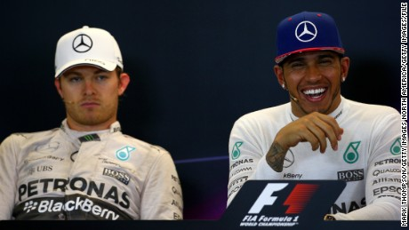 A smiling Lewis Hamilton and a dejected Nico Rosberg after October's United States Grand Prix where the Briton clinched his third Formula One world title. Hamilton insists that the working relationship is good with his German teammate.