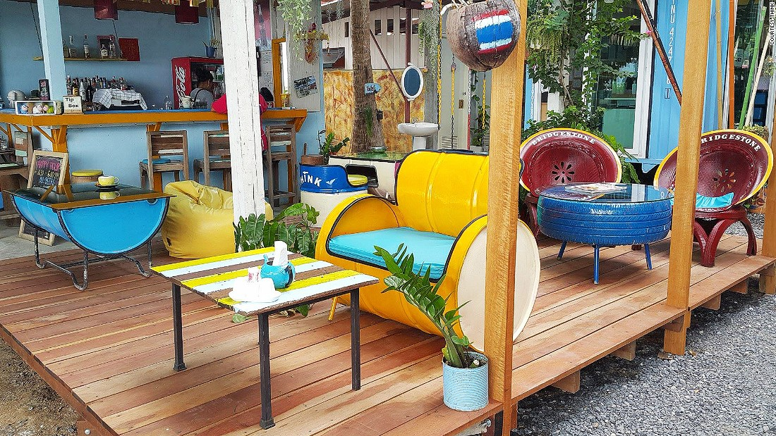 Cafes on southern Thai islands have perfected a hippiefied-beachcomber, ramshackle style, exhibited here by Think cafe in Lipa.