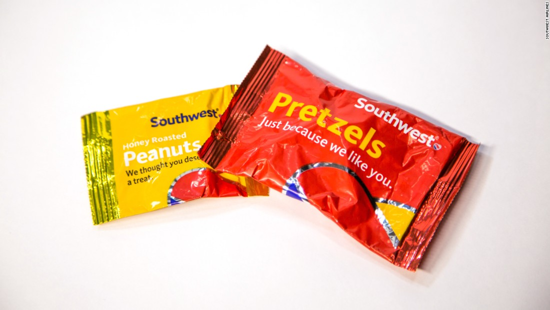 Your choice on Southwest, which ranked in sixth place, may be pretty simple: Do you want pretzels or peanuts? Platkin recommended the 70-calorie peanuts over the 50-calorie pretzels because they are a good source of protein.