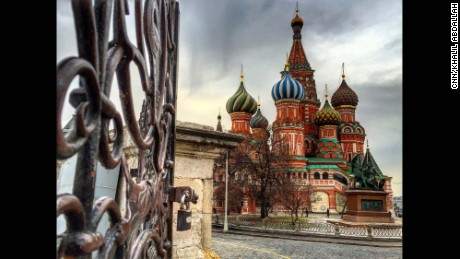 """RUSSIA: """"Saint Basil's Cathedral...It's just so dazzling & exceptional. Built in 1555 on orders from Ivan the Terrible, it commemorates the capture of Kazan and Astrakhan. The building is shaped as a flame from a bonfire rising into the sky, a design that has no analogues in Russian architecture."""" - CNN's Khalil Abdallah @madcameraman."""