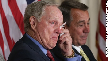 WASHINGTON, DC - MARCH 24:  Golf legend Jack Nicklaus (C) and Speaker of the House John Boehner (R-OH) wipe away tears after listening to the remarks of Nicklaus' son Jack Nicklaus II during the elder Nicklaus' Congressional Gold Medal a ceremony in the U.S. Capitol Rotunda March 24, 2015 in Washington, DC.  Nicklaus was lauded by family, friends and politicians for his many sports achievements and his philanthropy. Last month Nicklaus his wife, Barbara, pledged $60 million for the Miami Children's Health System through their Nicklaus Children's Health Care Foundation.  (Photo by Chip Somodevilla/Getty Images)