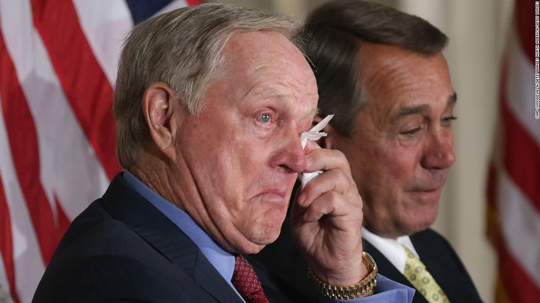 Jack Nicklaus wipes away tears after listening to the laudatory remarks of his son Jack Jr. before receiving the Congressional Gold Medal in 2015.