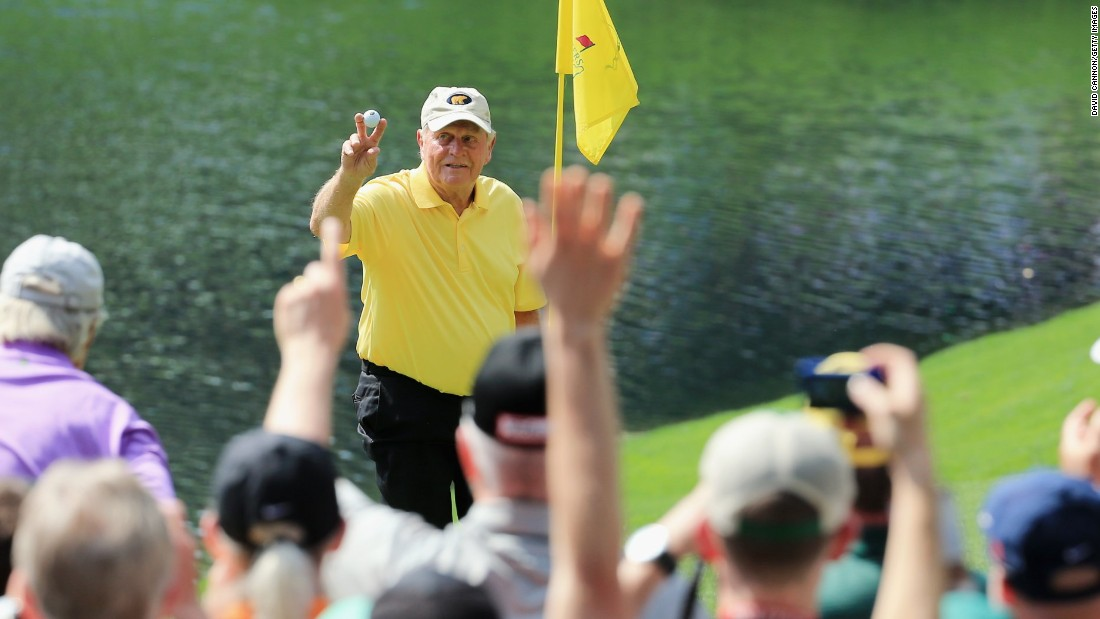 Aged 75, Nicklaus celebrated a hole-in-one during the Par 3 tournament at the 2015 Masters, the 21st of his professional career but first at Augusta.