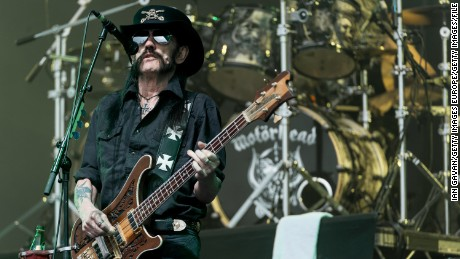 Lemmy from Motorhead performs on The Pyramid Stage during the Glastonbury Festival at Worthy Farm, Pilton on June 26, 2015.