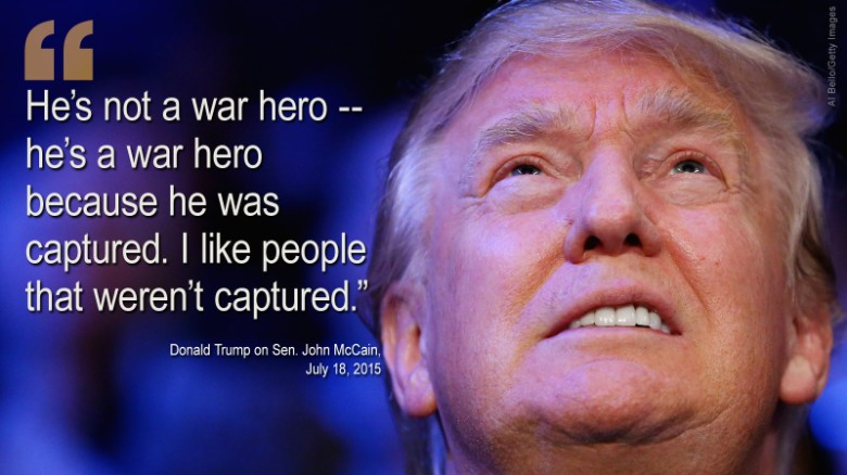 """На пятой неделе кампании, Trump & л; A HREF = & Quot; /2015/07/18/politics/donald-trump-john-mccain-war-hero/index.html""""  мишень = & Quot; _blank & Quot; & GT; включен сенатор Джон Маккейн и ЛТ; / а & GT;  на Саммите лидеров семьи в Эймс, штат Айова.  Маккейн рассматривается многими как герой войны после того, как захватили и держали во Вьетнаме на протяжении более пяти лет.  После того, как комментарии, республиканцы поспешили осудить Трампа, с соперником кандидат сенатор Линдси Грэм назвал его & Quot; болван & Quot."""