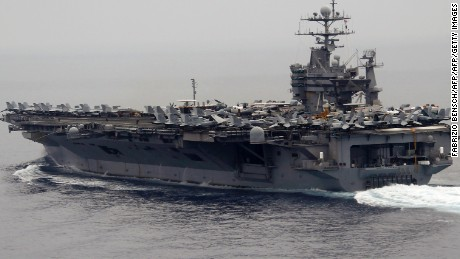 A general view shows the nuclear-powered US aircraft carrier USS Harry S. Truman at an undisclosed position in the Mediterranean Sea, south of Sicily, June 14, 2010 as German Defence Minister Karl-Theodor zu Guttenberg is on a one-day visit to the aircraft carrier USS Harry S. Truman and the Bundeswehr German Navy frigate Hessen, wich is part of the accompanying convoy of the carrier.      AFP PHOTO POOL / FABRIZIO BENSCH (Photo credit should read FABRIZIO BENSCH/AFP/Getty Images)