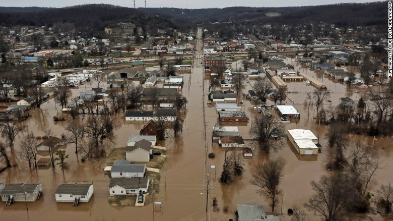 Homes are flooded in Pacific, Missouri, on Tuesday, December 29. Torrential rains over the past several days have pushed already swollen rivers and streams to new heights in parts of Missouri.